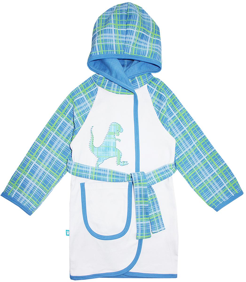 Халат для мальчика КотМарКот Дино, цвет: белый, синий, зеленый. 12251. Размер 134, 9 лет12251Халат для мальчика на запах КотМарКот выполнен из натурального хлопка.Модель средней длины с длинными рукавами-реглан и несъемным капюшоном имеет узкий текстильный пояс, дополнена шлевками. Спереди располагается накладной карман. Модель декорирована принтом в клетку по капюшону и рукавам, а также украшена небольшим принтом с изображением динозавра на груди.