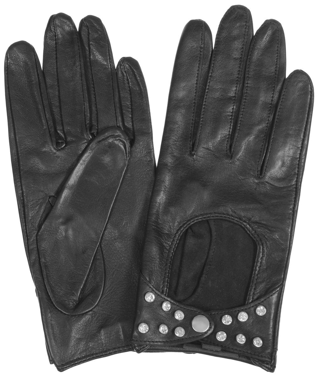 Перчатки женские Eleganzza, цвет: черный. HP02751. Размер 7HP02751Стильные женские перчатки Eleganzza не только защитят ваши руки от холода, но и станут великолепным украшением. Перчатки выполнены из чрезвычайно мягкой и приятной на ощупь натуральной кожи. Лицевая сторона перчаток на запястье застегивается хлястиками на кнопку, декорирована металлическими клепками. В настоящее время перчатки являются неотъемлемой принадлежностью одежды, вместе с этим аксессуаром вы обретаете женственность и элегантность. Перчатки станут завершающим и подчеркивающим элементом вашего стиля и неповторимости.