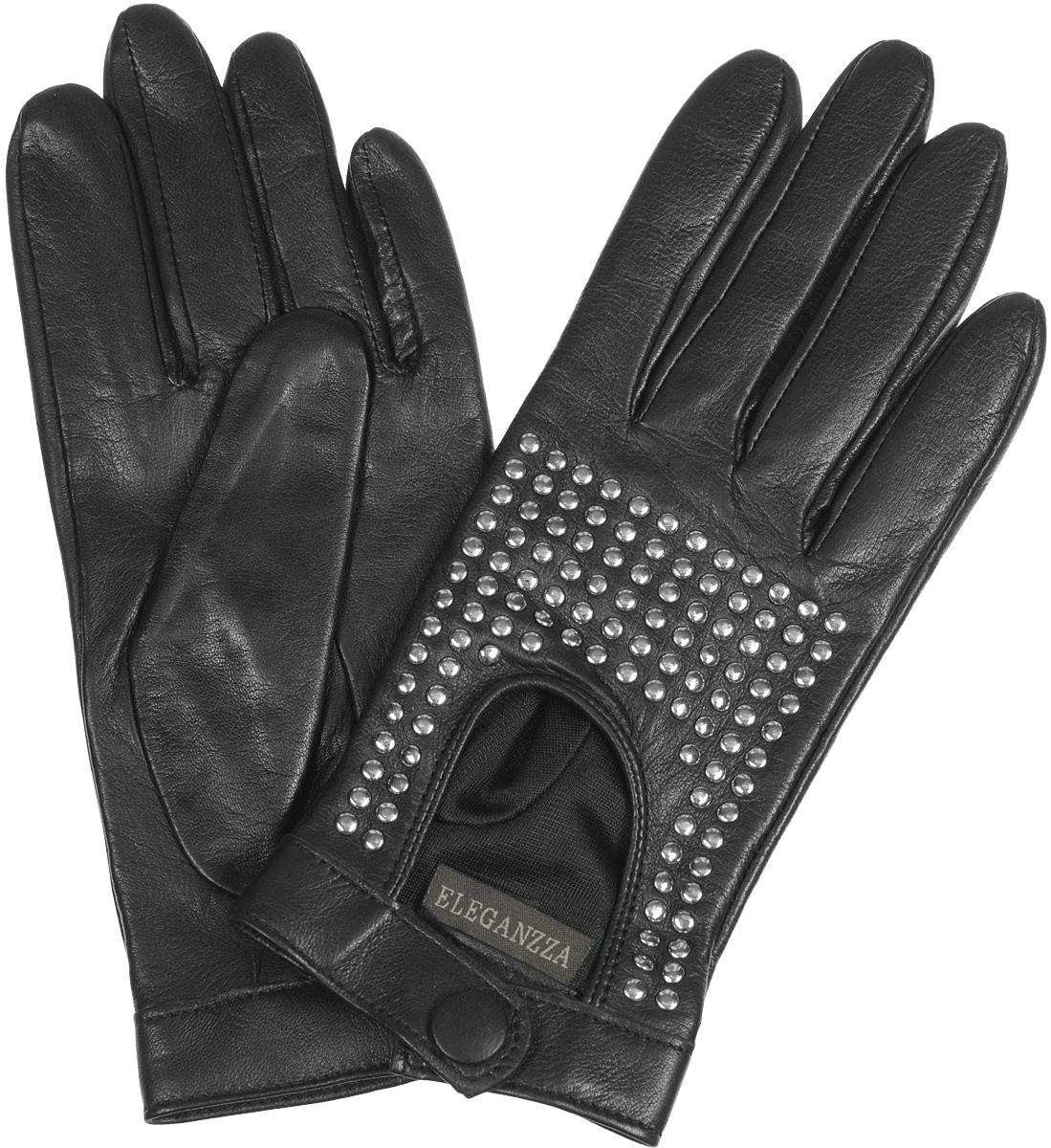 Перчатки женские Eleganzza, цвет: черный. IS02752. Размер 6.5IS02752Стильные женские перчатки Eleganzza не только защитят ваши руки от холода, но и станут великолепным украшением. Перчатки выполнены из чрезвычайно мягкой и приятной на ощупь натуральной кожи. Лицевая сторона перчаток на запястье застегивается хлястиками на кнопку. Оформлены перчатки декоративными клепками. В настоящее время перчатки являются неотъемлемой принадлежностью одежды, вместе с этим аксессуаром вы обретаете женственность и элегантность. Перчатки станут завершающим и подчеркивающим элементом вашего стиля и неповторимости.