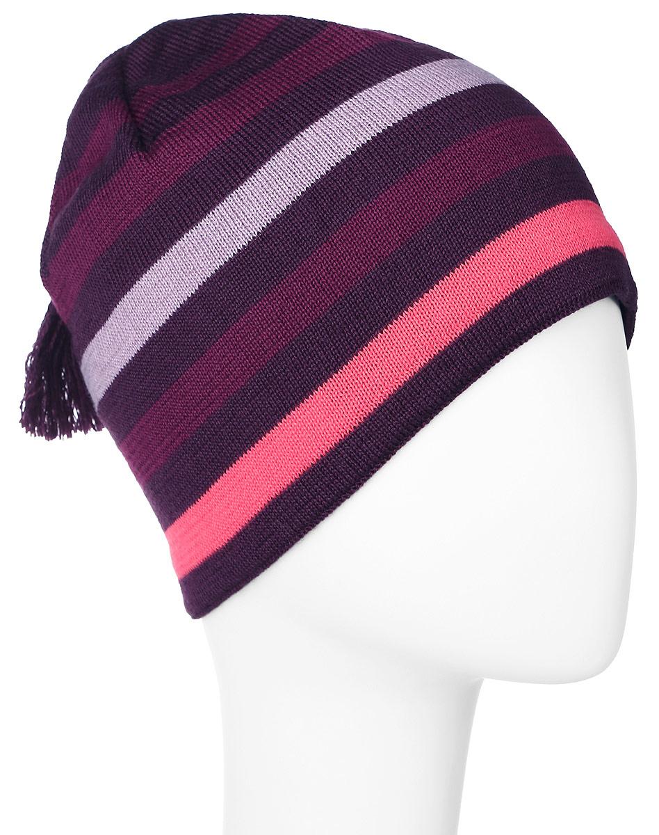 Шапка детская728693-4980Комфортная детская шапка Reima Lassie идеально подойдет для прогулок в холодное время года. Вязаная шапка, выполненная из шерсти и акрила, максимально сохраняет тепло, она мягкая и идеально прилегает к голове. Мягкая подкладка выполнена из хлопка с добавлением эластана, поэтому шапка хорошо сохраняет тепло и обладает отличной гигроскопичностью (не впитывает влагу, но проводит ее). Шапка оформлена принтом в полоску и дополнена оригинальной кисточкой. В ней ваш ребенок будет чувствовать себя уютно и комфортно. Уважаемые клиенты! Размер, доступный для заказа, является обхватом головы.