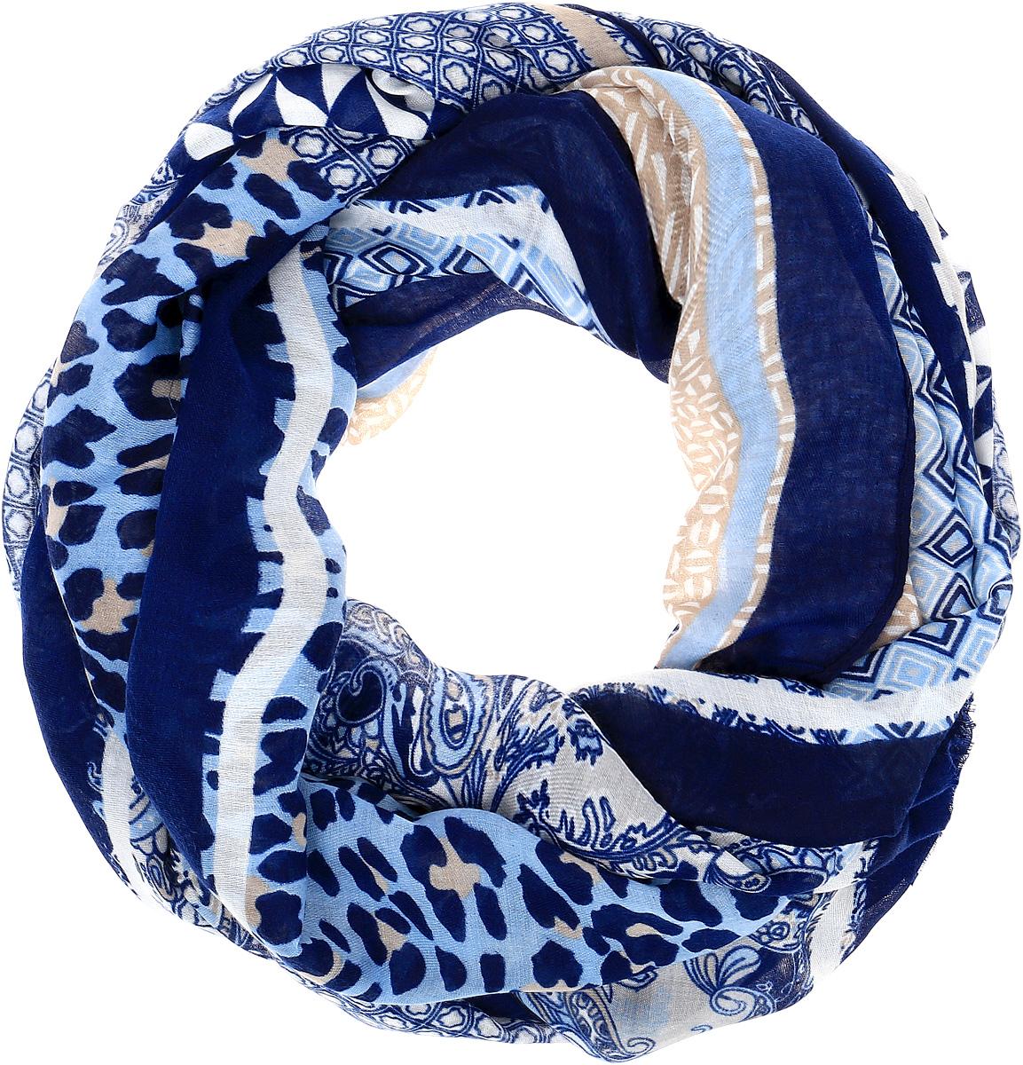 Палантин Sophie Ramage, цвет: синий, голубой, бежевый. HL-21667-10. Размер 90 см х 180 смHL-21667Элегантный палантин Sophie Ramage станет достойным завершением вашего образа. Палантин изготовлен из высококачественного модала с добавлением шерсти. Оформлена модель стильным принтом и дополнена небольшой бахромой. Палантин красиво драпируется, он превосходно дополнит любой наряд и подчеркнет ваш изысканный вкус. Легкий и изящный палантин привнесет в ваш образ утонченность и шарм.