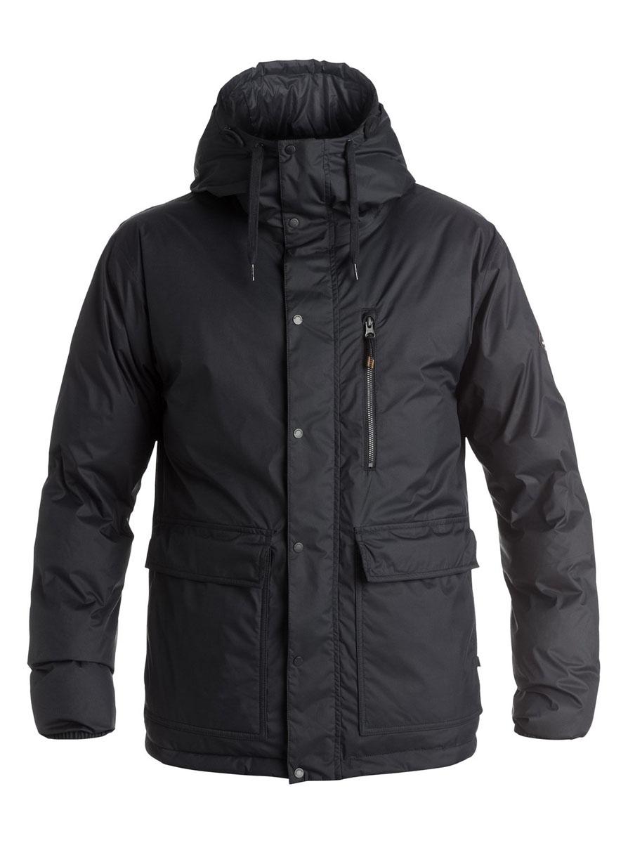 Куртка мужская Quiksilver Role, цвет: черный. EQYJK03218. Размер L (52)EQYJK03218-KVJ0Двусторонняя мужская куртка Quiksilver Role c длинными рукавами и несъемным капюшоном выполнена из прочного полиэстера. Наполнитель - синтепон. Модель застегивается на застежку-молнию спереди и имеет ветрозащитный клапан на кнопках. Изделие имеет два накладных кармана с клапанами на кнопках и втачной карман на молнии с одной стороны, и два втачных кармана на застежках-молниях с другой. Манжеты рукавов оснащены эластичными резинками. Объем капюшона регулируется при помощи внешнего шнурка-кулиски.