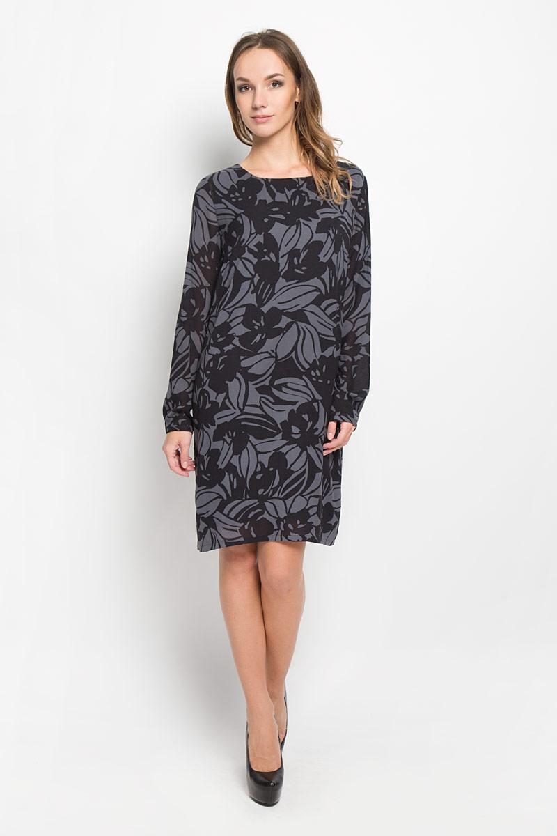 Платье176521121/G03Стильное платье Marc OPolo идеально подойдет для вас и подчеркнет вашу индивидуальность. Выполненное из вискозы и полиэстера, оно мягкое и приятное на ощупь, не сковывает движений обеспечивая комфорт. Модель длины миди с круглой горловиной и длинными рукавами имеет прямой крой. Рукава дополнены манжетами, которые застегиваются на пуговку. Оформлено изделие интересным цветочным принтом. Такое платье непременно украсит ваш гардероб и добавит образу женственности.