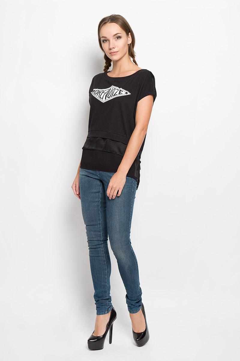 Футболка00STR7-0WAJE/900Стильная женская футболка Diesel, выполненная из натурального хлопка, подчеркнет ваш уникальный стиль и поможет создать оригинальный женственный образ. Футболка с короткими рукавами и круглым вырезом горловины. Спинка модели выполнена из полупрозрачного легкого полиэстера и немного удлинена. Изделие оформлено термоаппликацией в виде надписи More Noize и по низу дополнено вставками из полупрозрачного легкого материала. Такая футболка будет дарить вам комфорт в течение всего дня и послужит замечательным дополнением к вашему гардеробу.