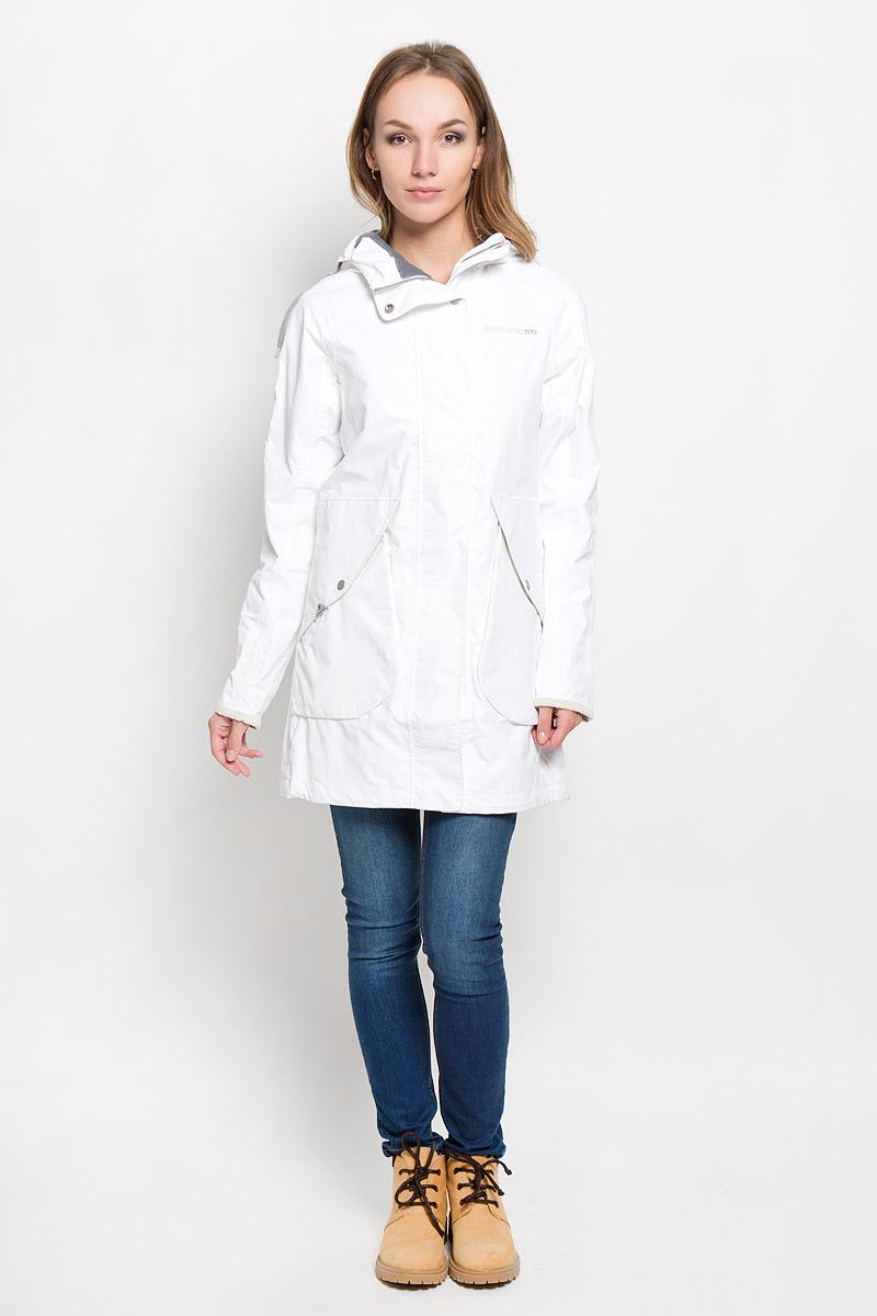 Куртка500374_27Удлиненная женская куртка Didriksons1913 Tuva согреет вас в прохладную погоду и позволит выделиться из толпы. Модель с длинными рукавами-реглан и несъемным капюшоном выполнена из водонепроницаемой и непродуваемой мембранной ткани. Проклеенные швы и дополнительная пропитка обеспечивают максимальную защиту от внешней влаги. Куртка застегивается на застежку-молнию спереди и имеет ветрозащитный клапан на кнопках. Объем капюшона регулируется при помощи шнурка-кулиски, глубину можно увеличить благодаря кнопкам сверху. Изделие дополнено двумя накладными карманами с клапанами на кнопках, потайным кармашком на застежке-молнии, расположенным под ветрозащитным клапаном, внутренним карманом-сеткой и накладным карманом на кнопке. Манжеты рукавов куртки дополнены кнопками. Низ и линия талии куртки дополнены шнурками-кулисками со стопперами. Эта модная и в то же время комфортная куртка - отличный вариант для прогулок, она подчеркнет ваш изысканный вкус и поможет создать неповторимый...