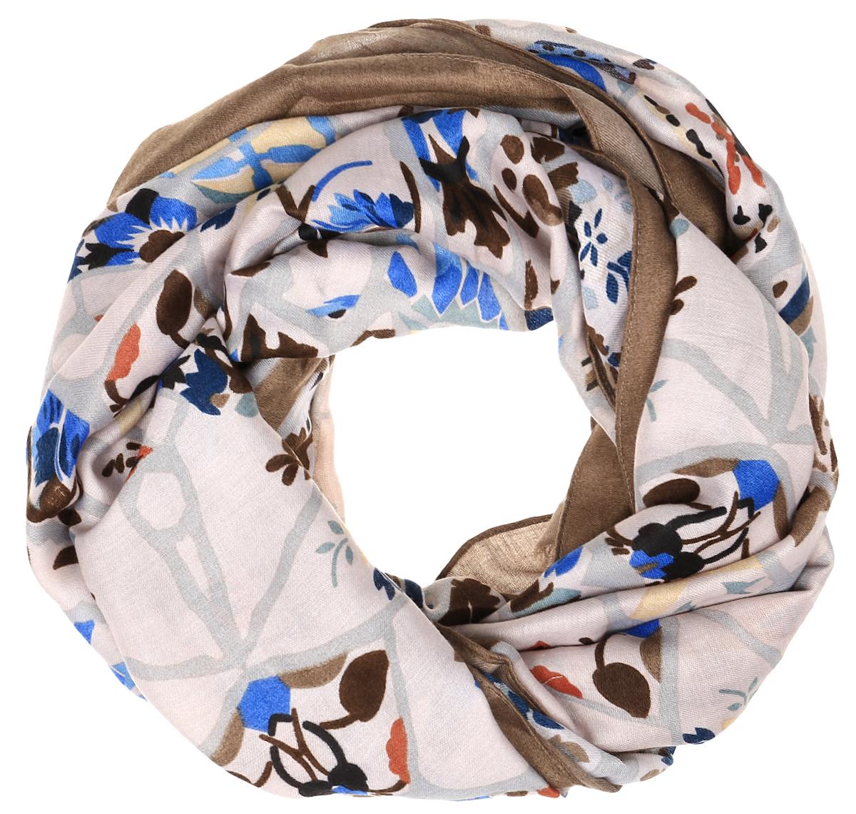 Шарф женский Fabretti, цвет: светло-коричневый, мультиколор. TUTF415. Размер 90 см х 180 смTUTF415-3Женский шарф Fabretti подарит уют и согреет от холодного ветра. Изготовленный из высококачественной вискозы, он очень легкий, мягкий, имеет приятную на ощупь текстуру. Модель оформлена принтом, украшена по краям кисточками.Такой аксессуар станет стильным дополнением к образу современной женщины, стремящейся всегда оставаться яркой и элегантной.