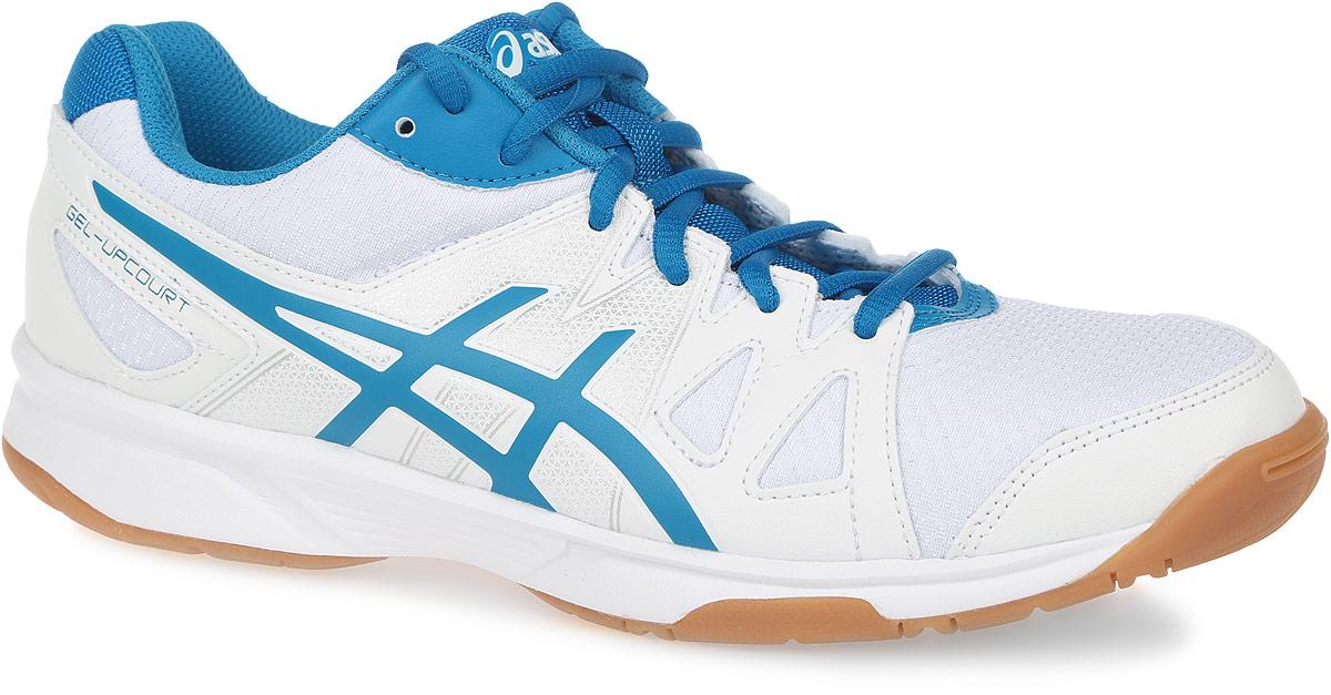 Кроссовки для волейбола мужские Asics Gel-Upcourt, цвет: белый, сине-голубой. B400N-0143. Размер 12H (45,5)B400N-0143Кроссовки для волейбола Gel-Upcourt от Asics выполнены из воздухопроницаемой сетки, поддерживающей оптимальный микроклимат внутри кроссовка, со вставками из полимерных материалов. Удобная шнуровка гарантирует быструю адаптивность к изменяющимся условиям и поддержку ноги. Asics Гель (специальный вид силикона) в пятке снижает нагрузку на колени и позвоночник спортсмена. Гибкая подошва оснащена рельефным рисунком.