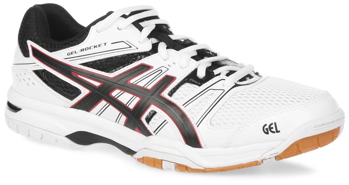 Кроссовки для волейбола мужские Asics Gel-Rocket 7, цвет: белый, черный, красный. B405N-0190. Размер 9H (42)B405N-0190Надежные мужские кроссовки для волейбола Gel-Rocket 7 от Asics создают необходимый комфорт и гибкость.Верх модели выполнен из сетчатого нейлона с отделкой из искусственной кожи.Модель с классической системой шнуровки и внутренней отделкой из мягкого текстильного материала. Стелька из EVA с текстильной поверхностью, повторяющая форму стопы, обеспечивает мягкость и комфорт. Кроссовки имеют ударопрочную колодку California. Подошва выполнена из резины повышенной износостойкости AHAR, продлевающей срок службы обуви. Система амортизации Asics Gel (специальный вид силикона) в пятке снижает нагрузку на пятку, колени и позвоночник спортсмена. Литой элемент Trusstic System, расположенный под центральной частью подошвы, предотвращает скручивание стопы. Рифление на подошве гарантирует отличное сцепление с любой поверхностью.