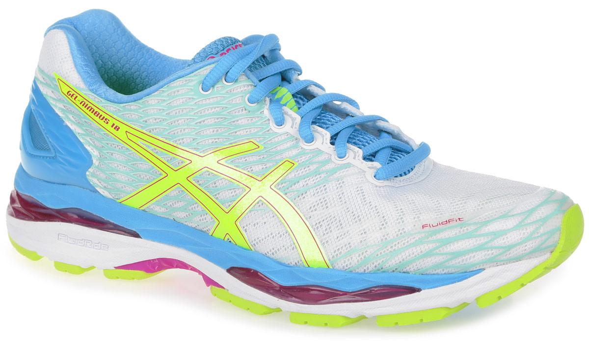Кроссовки для бега женские Asics Gel-Nimbus 18, цвет: белый, голубой. T650N-0107. Размер 9H (40)T650N-0107Стильные женские кроссовки Gel-Nimbus 18 от Asics идеальная обувь для бега на длинные и короткие дистанции. Верх модели выполнен из сетчатого текстиля и дополнен бесшовными накладками. Внутренняя поверхность из текстиля не натирает. Стелька из материала ЭВА с текстильной поверхностью комфортна при движении. Классическая шнуровка надежно зафиксирует изделие на ноге. Вставка из полимера в пяточной части гарантирует поддержку и фиксацию стопы. Упругая средняя подошва FluidRide обеспечивает дополнительную амортизацию. Пластиковый литой элемент Trusstic в средней части подошвы препятствует скручиванию стопы. Вставки в промежуточной подошве из термостойкого геля на силиконовой основе значительно уменьшают нагрузку на пятку, колени и позвоночник спортсмена, снижая возможность получения травмы. Технология FluidFit - обеспечивает идеальную посадку кроссовка на стопе и приятный бег в любых условиях.Рифление на подошве обеспечивает отличное сцепление с любой поверхностью.