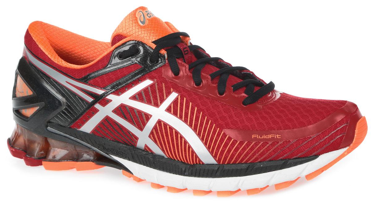 Кроссовки для бега мужские Asics Gel-Kinsei 6, цвет: красный, черный, оранжевый. T642N-2393. Размер 11H (44,5)T642N-2393Стильные мужские кроссовки Gel-Kinsei 6 от Asics идеальная обувь для бега на длинные и короткие дистанции. Верх модели выполнен из сетчатого текстиля и дополнен вставками из полимерных материалов. Внутренняя поверхность из текстиля не натирает. Стелька из материала ЭВА с текстильной поверхностью комфортна при движении. Классическая шнуровка надежно зафиксирует изделие на ноге. Вставка из полимера в пяточной части гарантирует поддержку и фиксацию стопы. Упругая средняя подошва FluidRide обеспечивает дополнительную амортизацию. Пластиковый литой элемент Trusstic в средней части подошвы препятствует скручиванию стопы. Вставка в промежуточной подошве из термостойкого геля на силиконовой основе значительно уменьшает нагрузку на пятку, колени и позвоночник спортсмена, снижая возможность получения травмы. Технология FluidFit -обеспечивает идеальную посадку кроссовка на стопе и приятный бег в любых условиях.Рифление на подошве обеспечивает отличное сцепление с любой поверхностью.
