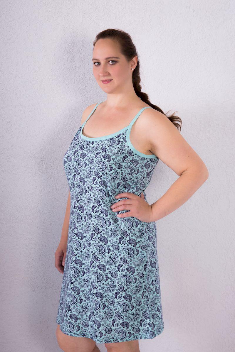 Платье домашнее7117110405Домашняя туника Violett изготовлена из натурального хлопка. Туника с круглым вырезом горловины на бретелях имеет трапециевидный крой. Модель оформлена оригинальным принтом.