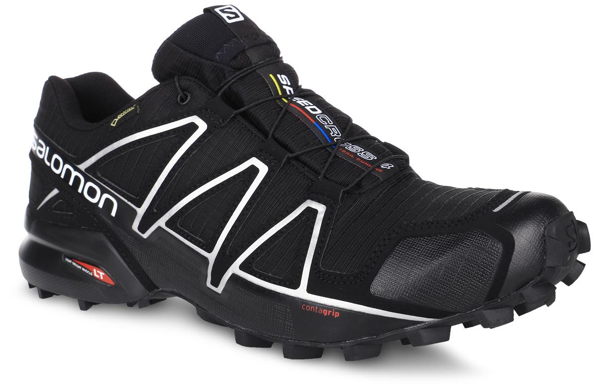 КроссовкиL38318100Беговые мужские кроссовки от Salomon Speedcross 4 GTX выполнены на 64,3% из синтетического материала и на 35,7% из текстиля. Конструкция верха Sensifit с пропиткой Mudguard не пропускает грязь и воду. Подъем оформлен шнуровкой с фиксатором, благодаря которой обувь сидит плотно на ноге, и дополнен кармашком для шнурков. Стелька Ortholite из ЭВА материала с текстильным верхним покрытием создает более прохладное и сухое пространство под стопой. Мягкая верхняя часть и подкладка, изготовленная из текстиля, обеспечивают дополнительный комфорт и предотвращают натирание. Язычок дополнен текстильной нашивкой с символикой бренда. Светоотражающие элементы обеспечат лучшую видимость в темное время суток. Подошва Contagrip не оставляет следов и обеспечивает отличное сцепление со скользкой поверхностью. Такие кроссовки займут достойное место в коллекции вашей спортивной обуви.