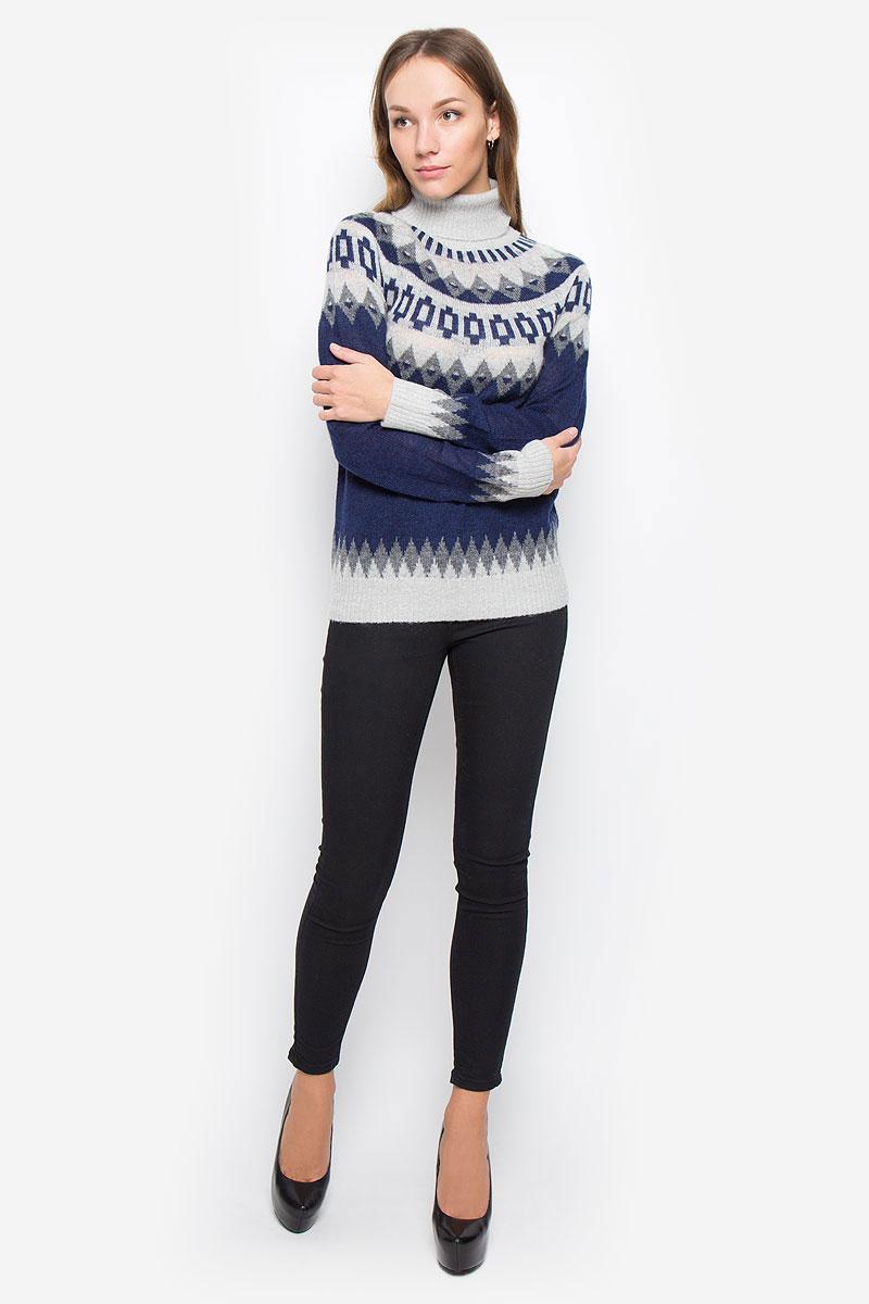 СвитерB166505_Dark Navy JacquardЖенский свитер Baon выполнен из мягкой и теплой пряжи. Модель с воротником-гольф и длинными рукавами- реглан оформлена вязаным рисунком. Воротник, манжеты и низ изделия связаны резинкой.