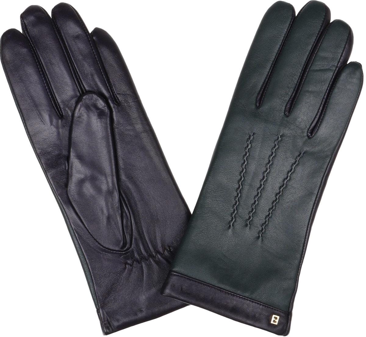 ПерчаткиS1.6-20_turquiseЖенские перчатки Fabretti Touch Screen не только защитят ваши руки от холода, но и станут незаменимым аксессуаром. Модель изготовлена из натуральной кожи на подкладке из шерсти с добавлением кашемира. Современные технологии обработки кожи позволяют работать с любыми сенсорными дисплеями, не снимая перчатки, что особенно важно в климатических условиях России. Конкурентным преимуществом данной технологии, является отсутствие текстильных вставок на пальцах, которые портят внешний вид перчаток и нарушают целостность кожи. Лицевая сторона изделия украшена фигурной прострочкой. Модель дополнена небольшим декоративным элементом с логотипом бренда. Запястье оснащено небольшой резинкой, фиксирующей модель на руке. Перчатки Fabretti станут завершающим и подчеркивающим элементом вашего стиля.