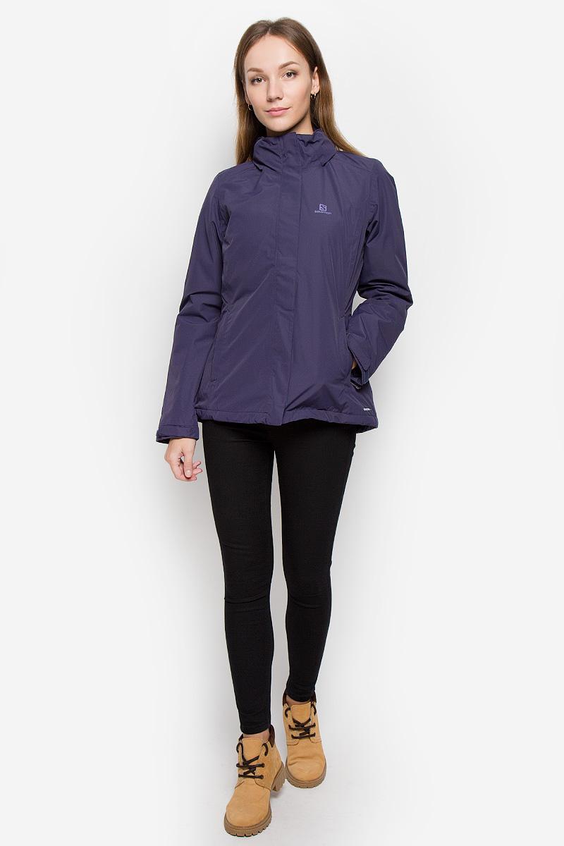 КурткаL38293600Женская куртка Salomon Elemental с длинными рукавами, несъемным капюшоном выполнена из прочного полиэстера. Благодаря материалу Advanced Skin Dry она защитит вас от дождя и ветра. Куртка застегивается на застежку-молнию спереди и имеет ветрозащитный клапан на липучках. Капюшон сворачивается и фиксируется липучкой сзади, трансформируясь в воротник-стойку. Его объем регулируется при помощи шнурка-кулиски со стопперами. Манжеты рукавов дополнены хлястиками на липучках. Изделие дополнено двумя втачными карманами на молниях спереди и внутренним втачным карманом на молнии. Объем низа регулируется при помощи шнурка-кулиски со стопперами.