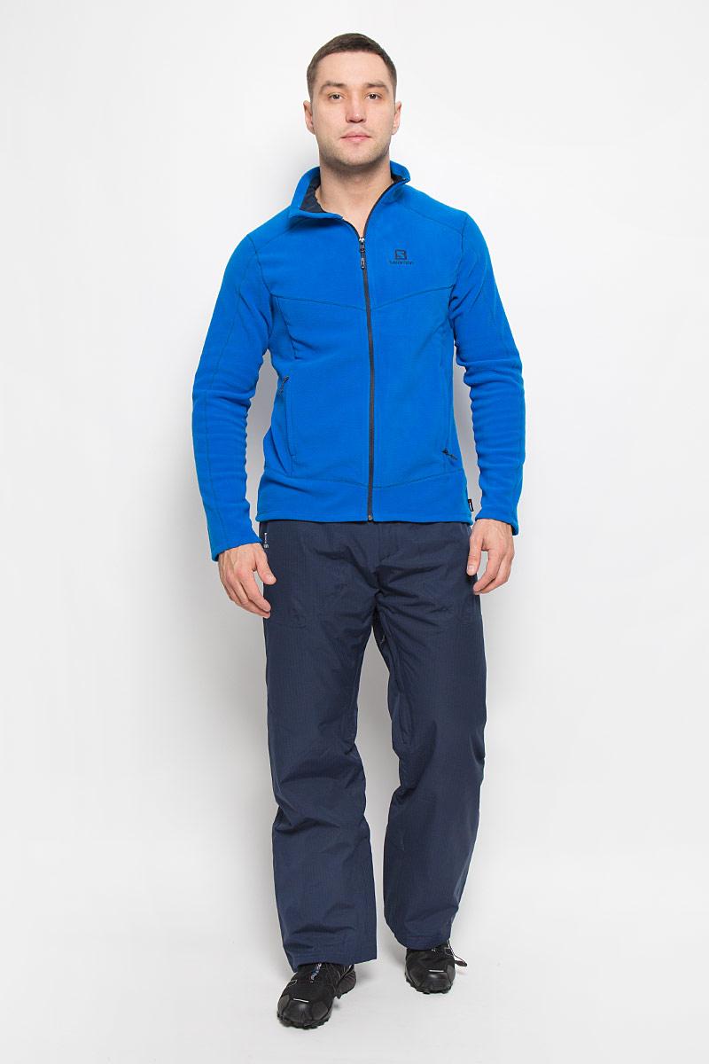 Брюки утепленныеL38275200Утепленные мужские брюки Stormspotter Pant от Salomon подарят вам особенный комфорт во время занятия спортом. Модель изготовлена из высококачественного полиэстера. Благодаря технологии Advanced Skin Dry 10/10 материал предотвращает проникновение влаги и хорошо пропускает воздух. Подкладка выполнена из нейлона и полиэстера. В качестве наполнителя используется полиэстер. Брюки прямого кроя застегиваются на металлическую кнопку и крючок в поясе, и ширинку на застежке-молнии. Широкий пояс дополнен вшитым ремешком с липучками и эластичной резинкой для идеальной посадки. На поясе имеются шлевки для ремня. С внутренней стороны брючины дополнены снегозащитными манжетами на резинках. Спереди находятся два накладных кармана с застежками-молниями. Вдоль внутренних швов проходят застежки-молнии, расстегнув которые обеспечивает естественная вентиляция.