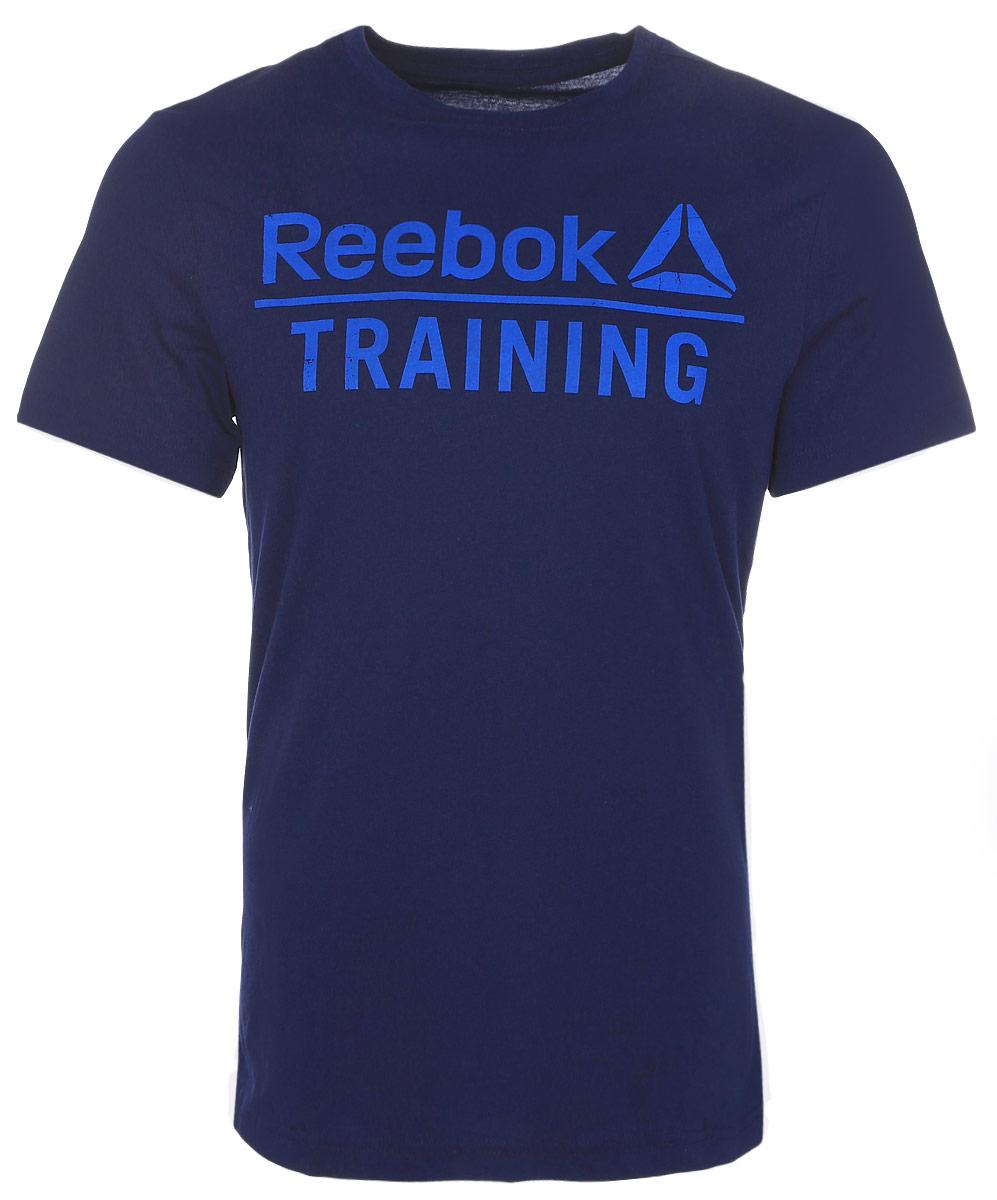 ФутболкаAY1051Мужская футболка Training Tee от Reebok идеально подойдет для занятий фитнесом. Модель, изготовленная из натурального хлопка, очень мягкая, тактильно приятная, не сковывает движения и позволяет коже дышать. Футболка-слим с круглым вырезом горловины и короткими рукавами оформлена фирменными надписями.