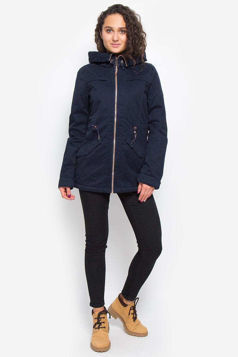 Куртка женская ONeill Aw Comfort Jacket, цвет: темно-синий. 655116-5114. Размер XL (50)655116-5114Стильная женская парка ONeill Aw Comfort Jacket с наполнителем из полиэстера согреет вас в прохладную погоду и позволит выделиться из толпы. Модель прямого кроя с длинными рукавами и воротником-капюшоном застегивается на застежку-молнию и оснащена внутренним ветрозащитным клапаном. Изделие дополнено спереди двумя прорезными карманами с клапанами на кнопках. На талии парка затягивается на шнурок-кулиску. Объем капюшона также регулируются при помощи шнурка-кулиски. Манжеты рукавов дополнены хлястиками на пуговицах. Такая стильная парка станет прекрасным дополнением к вашему гардеробу, она подарит вам комфорт и тепло.