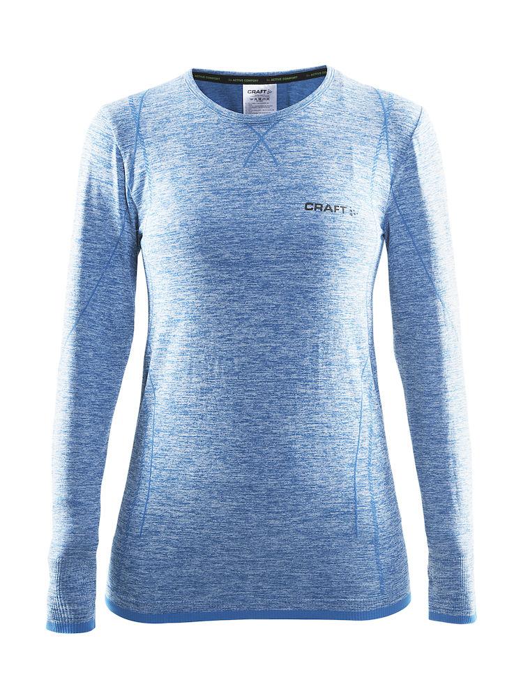 Термобелье кофта женская Craft Active Comfort, цвет: голубой. 1903714. Размер L (48)1903714Универсальное женское термобелье. Мягкая и эластичная, легкая, но согревающая ткань термобелья сохранит ваше тело в тепле, сухости и комфорте. Прекрасная терморегуляция, свободный крой и плоские швы. Различные зоны плотности материала с учетом картографии тела. Бесшовный дизайн для оптимальной свободы движений.