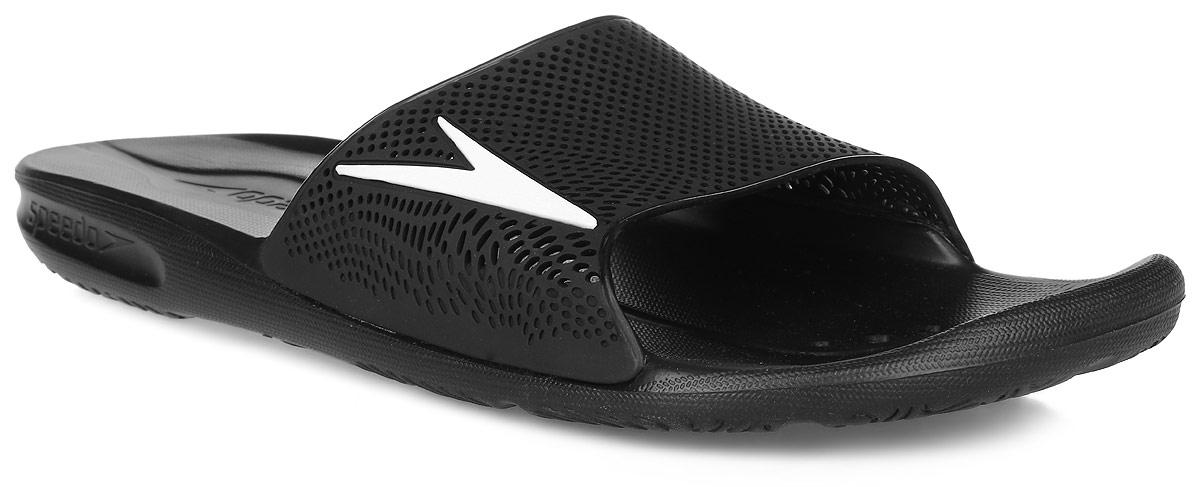 Шлепанцы мужские Speedo Atami II Max Am, цвет: черный. 8-090603503-3503. Размер 7 (40,5)8-090603503-3503Комфортные мужские шлепанцы от Speedo Atami II Max Am не оставят вас равнодушным. Верх изделия выполнен из термополиуретана и оформлен логотипом бренда и перфорацией, благодаря которой быстро удаляется влага и обеспечивается дополнительная вентиляция. Подошва выполнена из материала ЭВА, который имеет пористую структуру, обладает великолепными теплоизоляционными и морозостойкими свойствами, 100% водонепроницаемостью, придает обуви амортизационные свойства, мягкость при ходьбе, устойчивость к истиранию подошвы. Текстильная подкладка предотвратит натирание. Специальный рисунок подошвы как с внутренней, так и с внешней сторон, гарантирует оптимальное сцепление при ходьбе как по сухой, так и по влажной поверхности. Модные шлепанцы покорят вас своим дизайном и удобством!