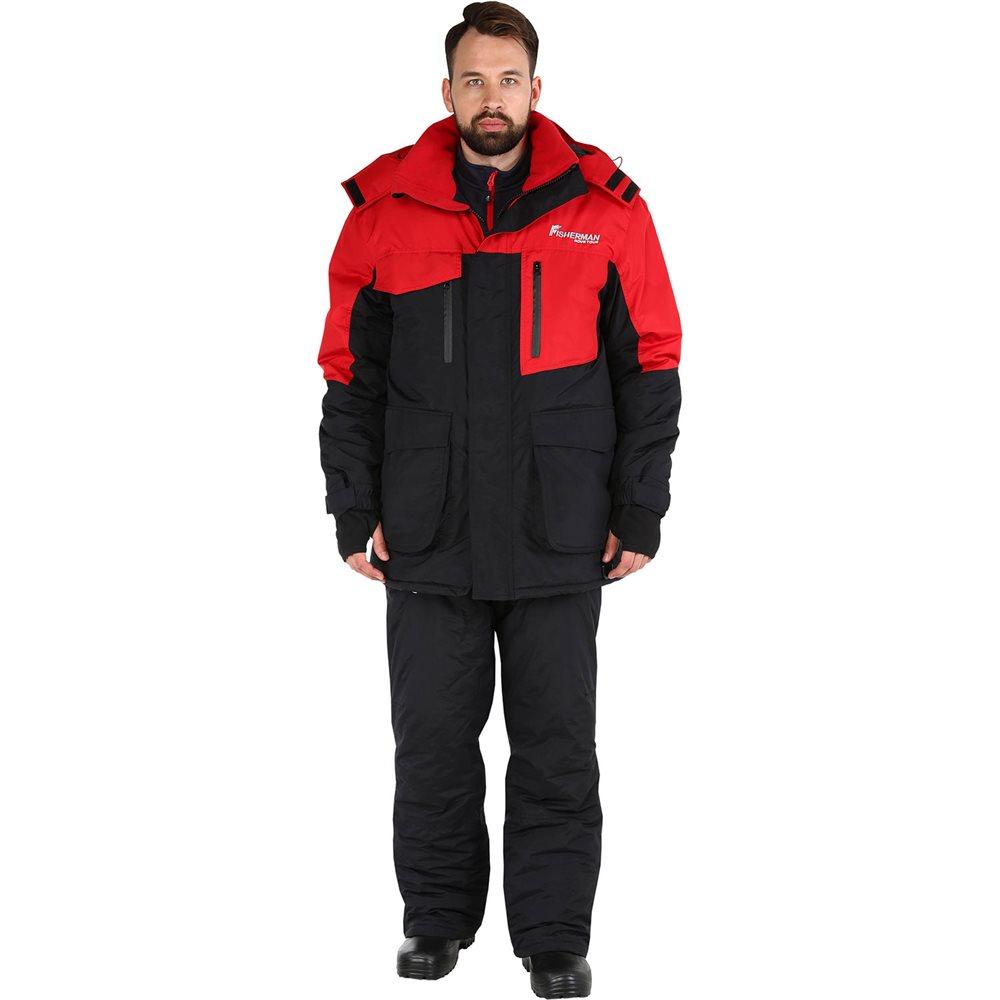 Костюм рыболовный мужской FisherMan Nova Tour Таймень, цвет: черный, красный. 95636-054. Размер XS (46)95636-054Практичный и надежный костюм для зимней рыбалки. Куртка имеет флисовую подкладку и ветрозащитную юбку. Используется беспоровая мембрана Hipora 5000/5000. Проклеенные швы, регулируемый капюшон, накладные карманы с люверсами, эластичная боковая вставка, снегозащитная муфта, боковые расширители, внутренние манжеты, регулировка ширины низа брюк, анатомический крой рукава, ветрозащитная юбка, анатомический крой в области колена, воротник-стойка, кольцо для перчаток, двухзамковая молния.