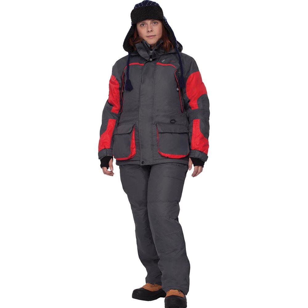 Костюм рыболовный46193Женский костюм для зимней рыбалки состоит из куртки и полукомбинезона, теплый и в то же время легкий костюм. Крой костюма учитывает особенности женской фигуры. Новый утеплитель Termo MAX обеспечит непревзойденный комфорт и сохранение тепла в условиях зимней рыбалки. Климатическая мембрана прекрасно отводит влагу. Анатомический крой рукава обеспечит свободу движений, а обновленный костюма подчеркнет Вашу индивидуальность. Регулировка рукавов и низа брюк по ширине препятствует попаданию воды, снега, а также задуванию холодного воздуха. Внутренние флисовые манжеты прекрасно сохраняют тепло. Теплый съемный капюшон с жестким козырьком прекрасно защитит Вас от попадания снега, дождя и ветра. Капюшон регулируется по ширине и по объему. Ветрозащитная юбка препятствует попаданию снега и задуванию ветра. Регулировка полукомбинезона по росту и эластичные боковые вставки обеспечивают хорошую посадку по фигуре. Удобные внешние и внутренние карманы позволят разместить...