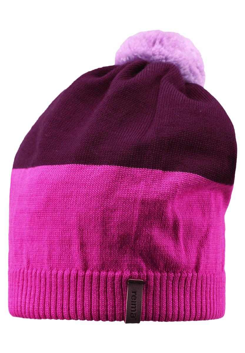 Шапка детская Reima Kompa, цвет: розовый, бордовый. 528497-4620. Размер 50528497-4620Детская шапка связана из теплой полушерсти. Забавный контрастный помпон оживит любой зимний образ!