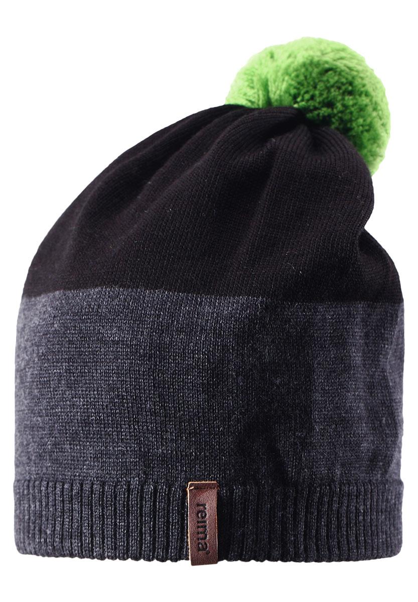 Шапка детская Reima Kompa, цвет: серый, черный. 528497-9510. Размер 50528497-9510Детская шапка связана из теплой полушерсти. Забавный контрастный помпон оживит любой зимний образ!