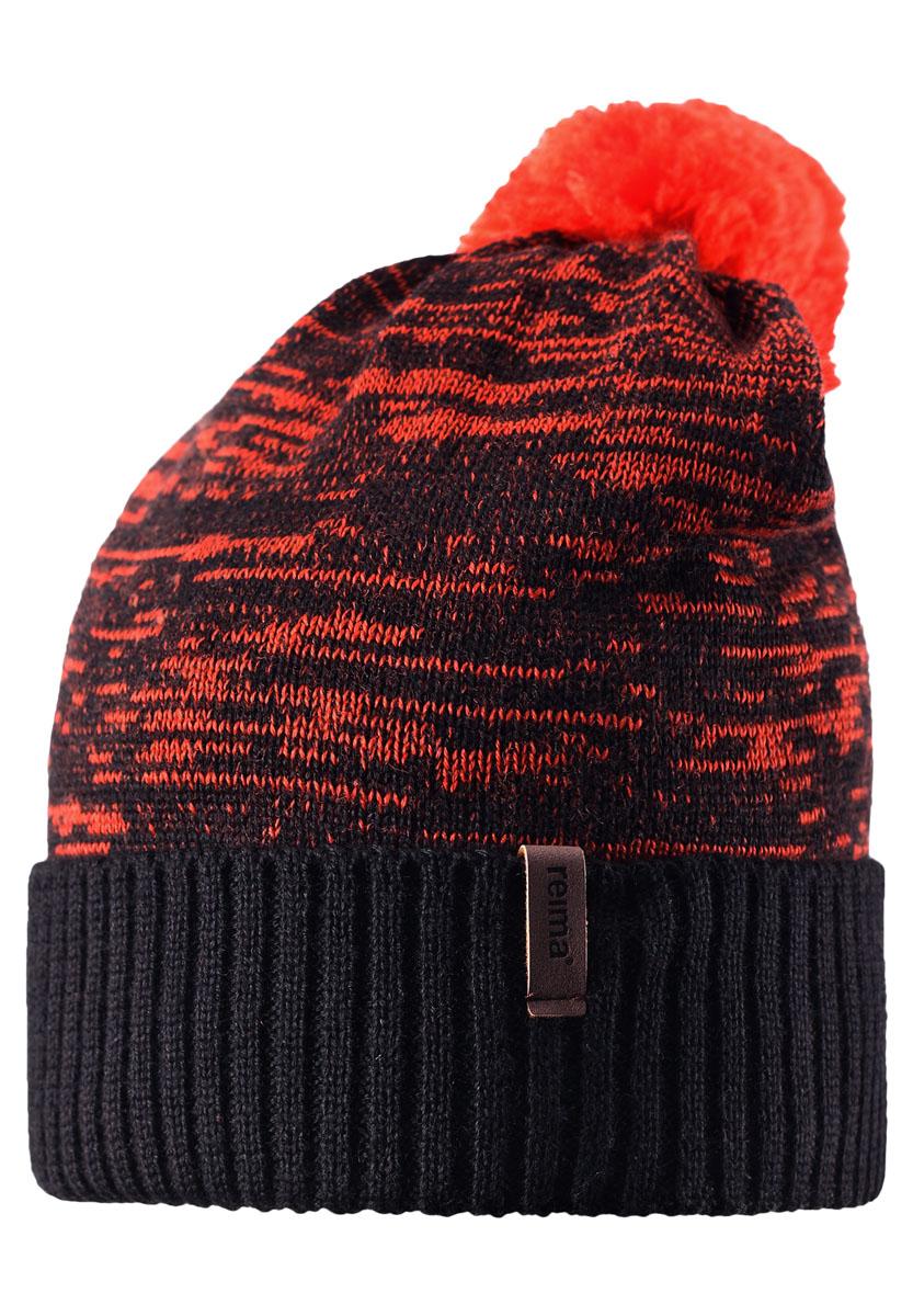 Шапка детская Reima Cabin, цвет: черный, оранжевый. 538020-9990. Размер 58538020-9990Забавная детская шапочка-бини из смеси шерсти свободной модели создает стильный образ. Подкладка выполнена из теплого и мягкого флиса. Великолепная текстура и помпон на макушке завершают образ! Ветронепроницаемые вставки в области ушей обеспечат маленьким ушкам дополнительную защиту от холода во время отдыха на свежем воздухе.