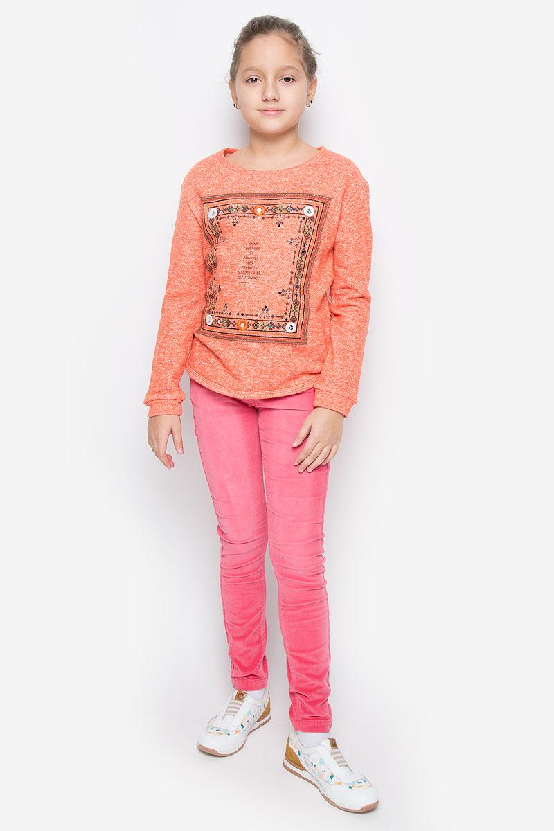 Свитшот для девочки Sela, цвет: оранжевый меланж. St-613/069-6323. Размер 140, 10 летSt-613/069-6323Стильный и теплый свитшот Sela станет отличным дополнением к гардеробу вашей девочки. Свитшот, выполненный из хлопка с добавлением полиэстера, необычайно мягкий и приятный на ощупь, не сковывает движения и позволяет коже дышать, не раздражает даже самую нежную и чувствительную кожу ребенка, обеспечивая наибольший комфорт. Свитшот с длинными рукавами и круглым вырезом горловины оформлен спереди оригинальным принтом, вышивкой и пайетками. Спинка модели немного удлинена. Оригинальный современный дизайн и актуальная расцветка делают этот свитшот модным и стильным предметом детского гардероба.