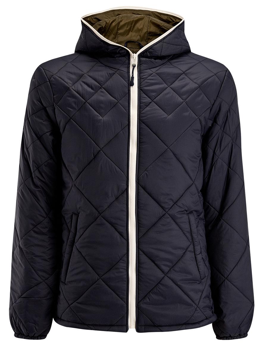 Куртка мужская oodji, цвет: темно-синий. 1L112013M/25855N/7900N. Размер L (52/54-182)1L112013M/25855N/7900NМужская куртка oodji выполнена из полиамида. В качестве подкладки используется полиамид, а утеплителем служит 100% полиэстер. Модель с несъемным капюшоном застёгивается на застежку-молнию.Низ рукавов присобран на резинку. В боковых швах обработаны небольшие разрезы на кнопках. Спереди расположено два прорезных кармана на кнопках, а с внутренней стороны - прорезной карман на кнопке.