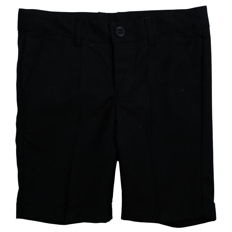 Шорты451002Стильные шорты в классическом стиле для мальчика. Модель прямого кроя со стрелками застегивается на молнию и пуговицу. Изделие дополнено тремя функциональными карманами: двумя втачными спереди и одним прорезным сзади. Имеются шлевки для ремня.