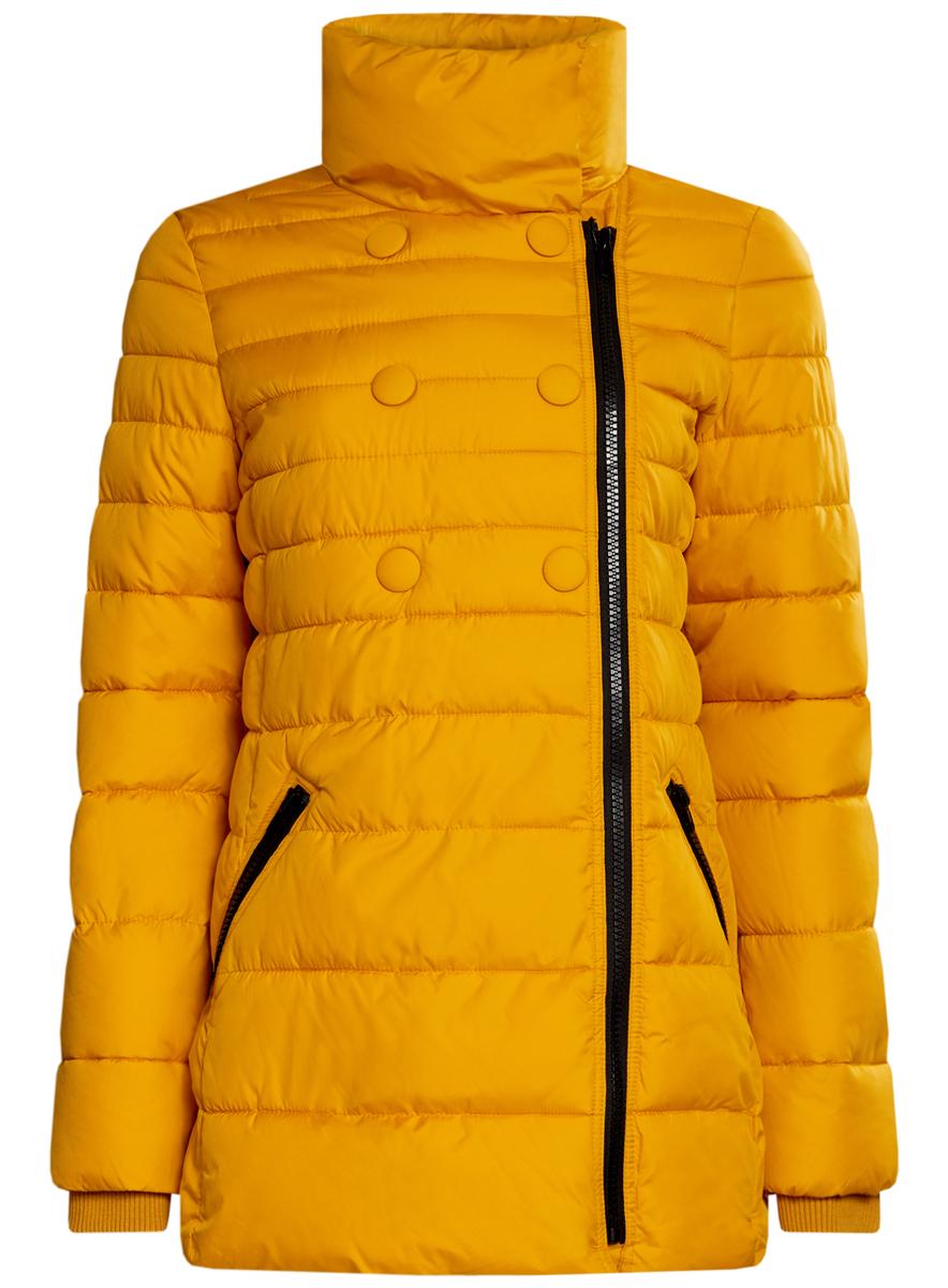 Куртка женская oodji Ultra, цвет: горчичный. 10201032-2/32754/5200N. Размер 34 (40-170)10201032-2/32754/5200NЖенская куртка oodji Ultra выполнена из 100% полиэстера. В качестве подкладки и утеплителя также используется полиэстер. Модель с воротником-стойкой застегивается на асимметричную застежку-молнию и дополнительно на кнопки. Низ рукавов дополнен внутренними эластичными манжетами. Спереди расположено два прорезных кармана на застежках-молниях.
