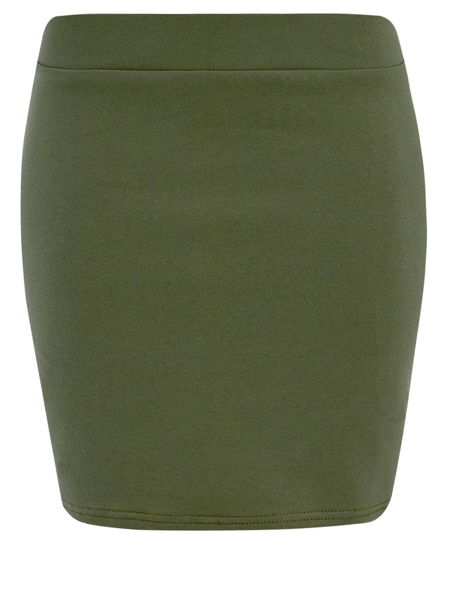 Юбка14101001B/46159/6900NТрикотажная юбка oodji Ultra выполнена из хлопка с добавлением полиуретана. Модель длины мини. Широкий пояс дополнен вставкой из эластичной резинки.