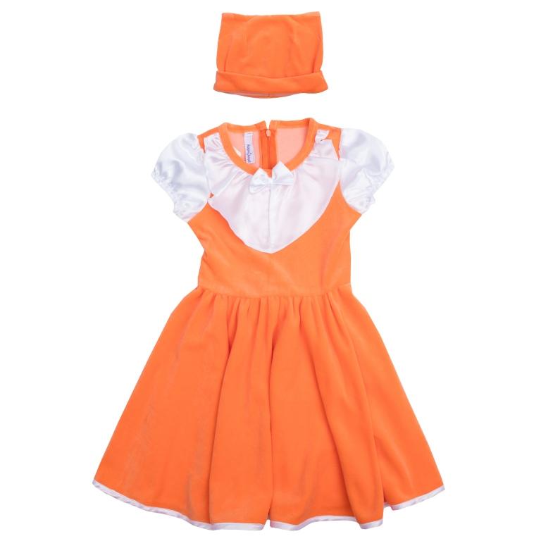 Платье462015Стильное платье для девочки - полноценный костюм лисички, не уступающий в удобстве базовым хлопковым платьям! Платье с короткими рукавами и круглым вырезом горловины выполнено из нежного велюра с контрастной сатиновой отделкой рукавов, воротника и подола, создающей эффект многослойности. Изделие застегивается на потайную молнию на спине и дополнено широким поясом, завязывающимся в большой бант. Рукава-фонарики на мягкой резинке. В комплект с платьем входит шапка с декоративными ушками, чтобы завершить нарядный образ.
