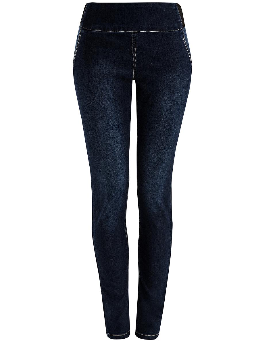 Джинсы22104026-1/37977/7900WЖенские облегающие джинсы oodji Denim изготовлены из эластичного хлопка с добавлением полиэстера и вискозы. Джинсы-скинни имеют широкую эластичную резинку на поясе. Сзади расположены два накладных кармана. Изделие оформлено имитацией ширинки и втачных карманов спереди.