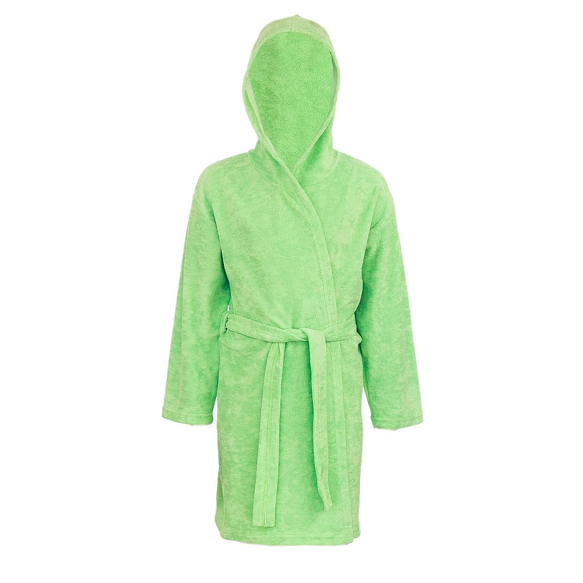 Халат детский M&D, цвет: салатовый. Х70514. Размер 92Х70514Мягкий и пушистый халат от фирмы M&D выполнен из хлопка с добавлением полиэстера, приятен к телу и износоустойчив.Халат можно носить по дому или надевать выходя из ванной. Ткань хорошо впитывает влагу и быстро сохнет. Модель с капюшоном и длинными рукавами оснащена шлёвками и поясом.Изделие понравится ребенку, подарит ему тепло, комфорт и уют.