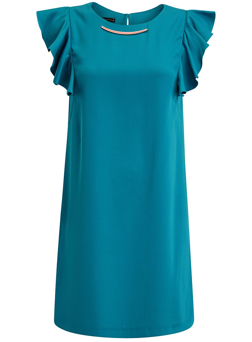 Платье oodji Collection, цвет: бирюзовый. 21909002/42720/7300N. Размер 44 (50-170)21909002/42720/7300NПлатье oodji Collection выполнено из эластичного полиэстера. Укороченная модель без рукавов имеет круглый вырез горловины. Платье застегивается на пуговицу на спинке. На плечах расположены вставки с крупными воланами, под горловиной платье украшено металлическим декоративным элементом.