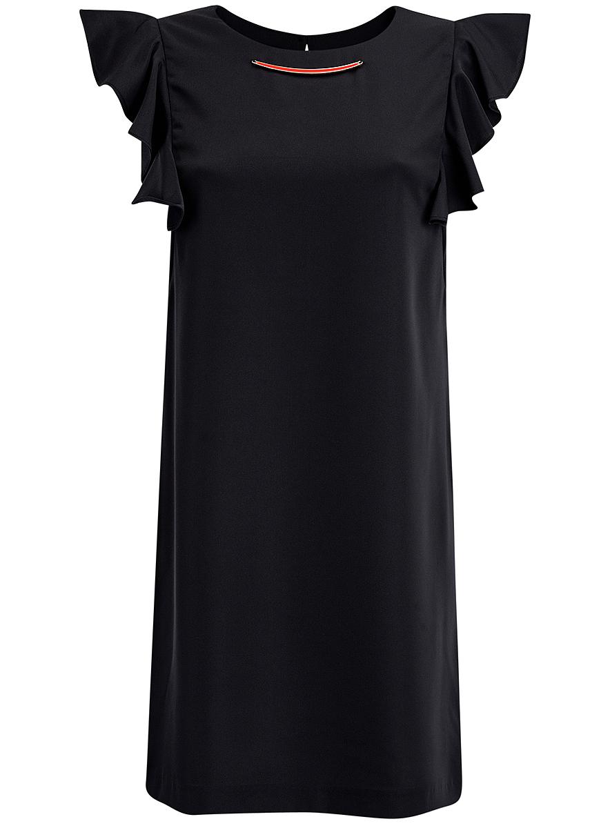 Платье oodji Collection, цвет: черный. 21909002/42720/2900N. Размер 38 (44-170)21909002/42720/2900NПлатье oodji Collection выполнено из эластичного полиэстера. Укороченная модель без рукавов имеет круглый вырез горловины. Платье застегивается на пуговицу на спинке. На плечах расположены вставки с крупными воланами, под горловиной платье украшено металлическим декоративным элементом.