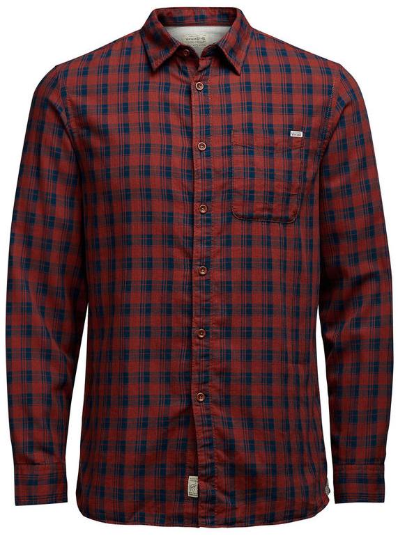 Рубашка мужская Jack & Jones, цвет: терракотовый, темно-синий. 12107981. Размер L (48)12107981_Fired BrickМужская рубашка Jack & Jones выполнена из натурального хлопка. Рубашкас длинными рукавами и отложным воротником застегивается на пуговицы спереди. Манжеты рукавов также застегиваются на пуговицы. Рубашка оформлена принтом в клетку. На груди расположен накладной карман.