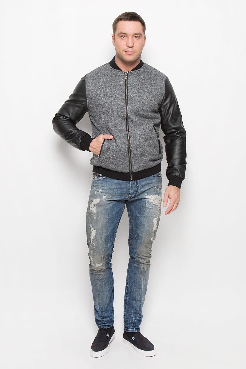Куртка мужская Mexx, цвет: серый, черный. MX3025344_MN_JCK_008. Размер XL (54)MX3025344_MN_JCK_008_025Стильная мужская куртка Mexx подчеркнет вашу индивидуальность. Куртка изготовлена из шерсти и полиэстера, рукава из 100% полиуретана и утеплена синтепоном.Модель с трикотажным воротником-стойкой застегивается на металлическую застежку-молнию.Куртка дополнена двумя врезными карманами на застежках-молниях. Манжеты рукавов дополнены широкими резинками.