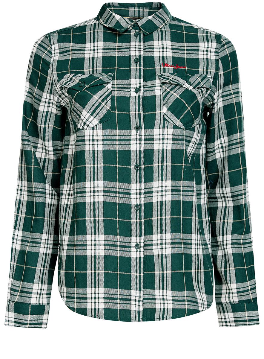 Рубашка женская oodji Ultra, цвет: зеленый. 11400433/43223/6912C. Размер 42 (48-170)11400433/43223/6912CСтильная женская рубашка oodji Ultra выполнена из натурального хлопка. Рубашка с отложным воротником и длинными рукавами застегивается на пуговицы. На груди изделие дополнено двумя накладными карманами с клапанами на пуговицах. Оформлена модель принтом в клетку.