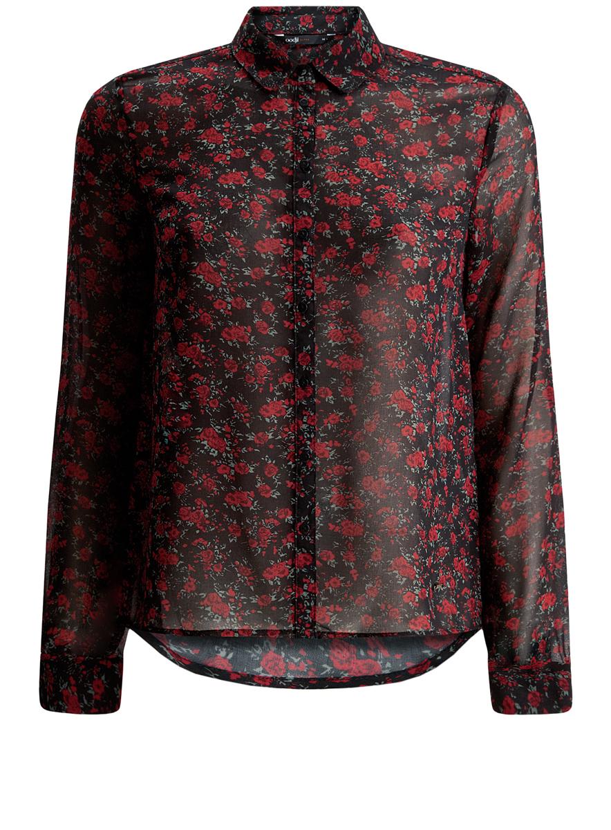 Блузка11401246/43074/2945FЖенская блузка oodji Ultra имеет свободный крой, классический воротник и длинный рукав. Спереди и на манжетах застегивается на пуговицы.