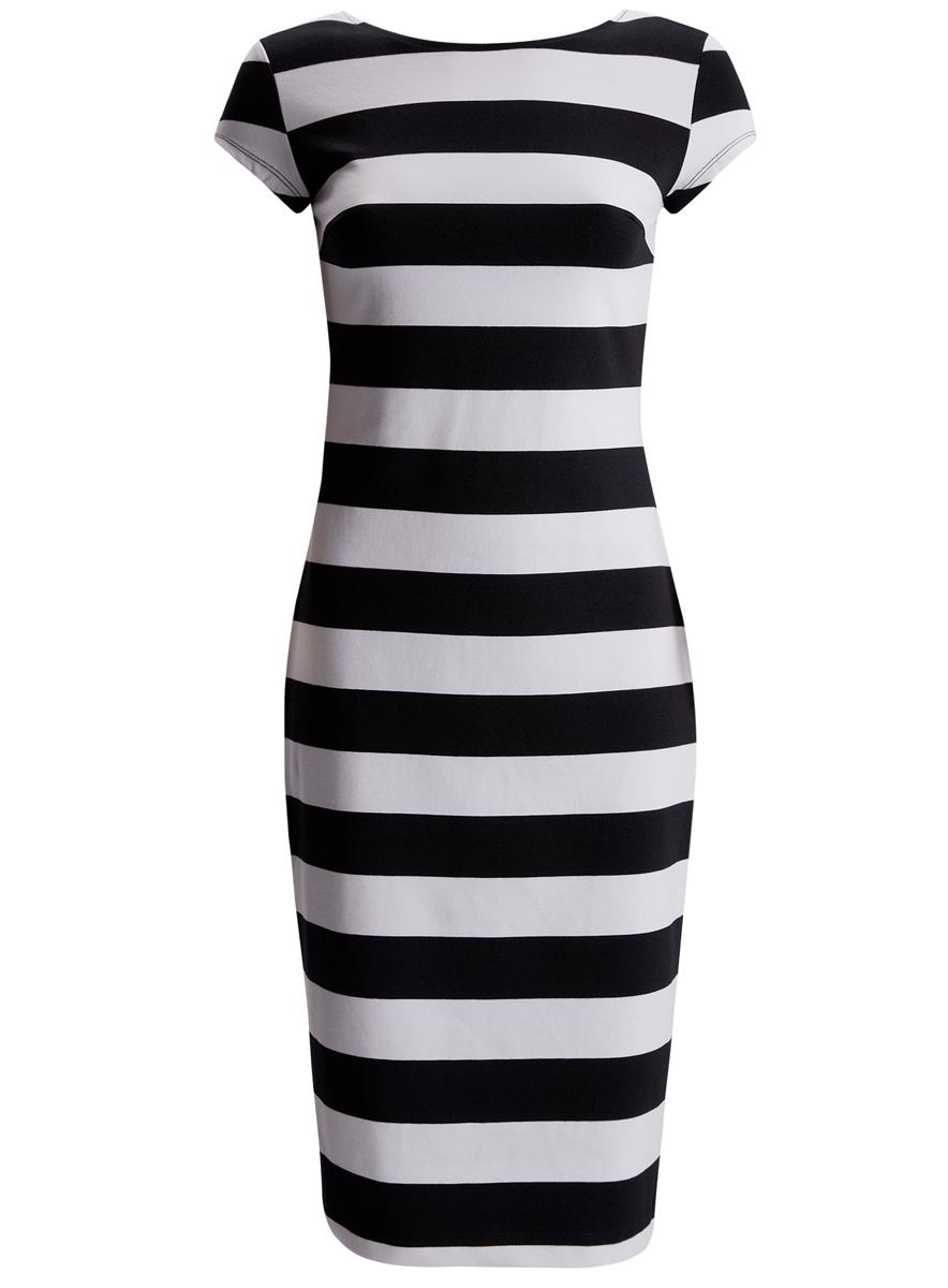 Платье24001104-1/35477/1079SПлатье oodji Collection исполнено из облегающей трикотажной ткани. Имеет круглый вырез воротника и короткие рукава. Оформлено принтом в полоску. Плотно садится по фигуре.
