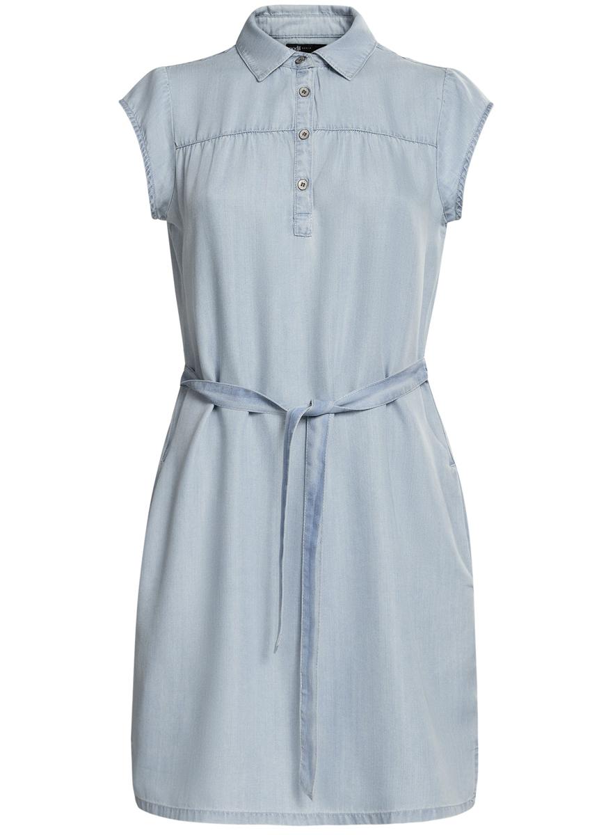 Платье22909022/42579/7000WПлатье свободного кроя oodji Ultra исполнено из денима. Имеет короткий рукав, классический воротничок, два кармана по бокам от бедер. Застегивается спереди на металлические пуговицы, завязывается пояском на талии.