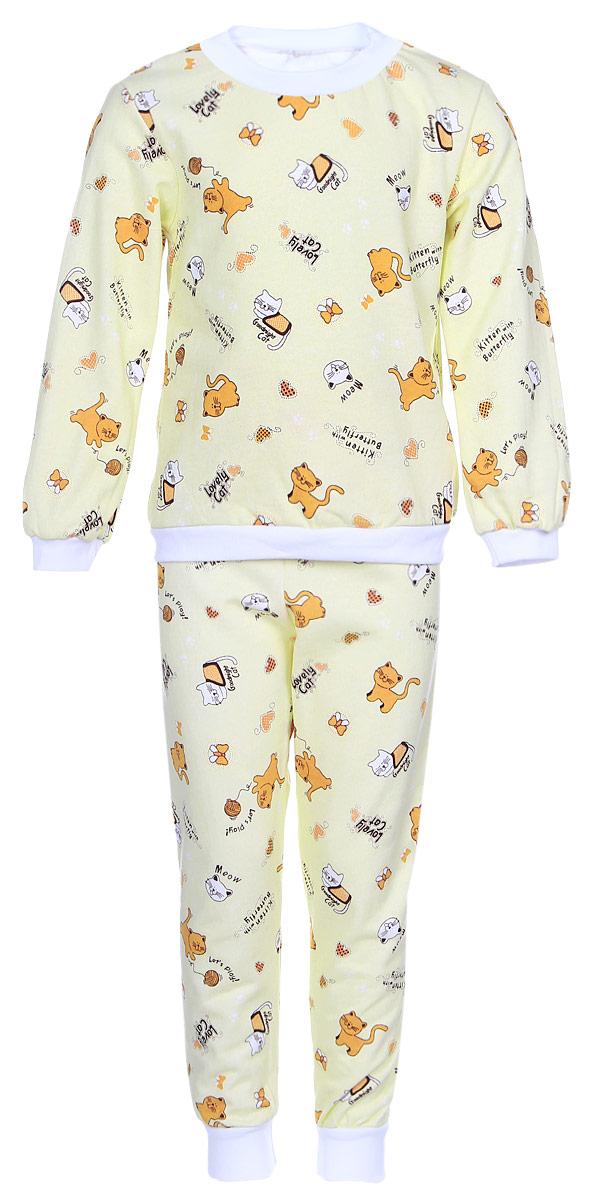 Пижама детская Фреш Стайл, цвет: светло-желтый. 21-5872. Размер 11621-5872Детская пижама Фреш Стайл выполнена из натурального хлопка. Изнаночная сторона изделия с мягким и теплым начесом. Футболка с длинными рукавами имеет круглый вырез горловины, оформленный трикотажной резинкой. На рукавах предусмотрены мягкие манжеты. Низ изделия дополнен широкой трикотажной резинкой.Брюки имеют эластичный пояс. Брючины дополнены манжетами.Пижама оформлена принтом.