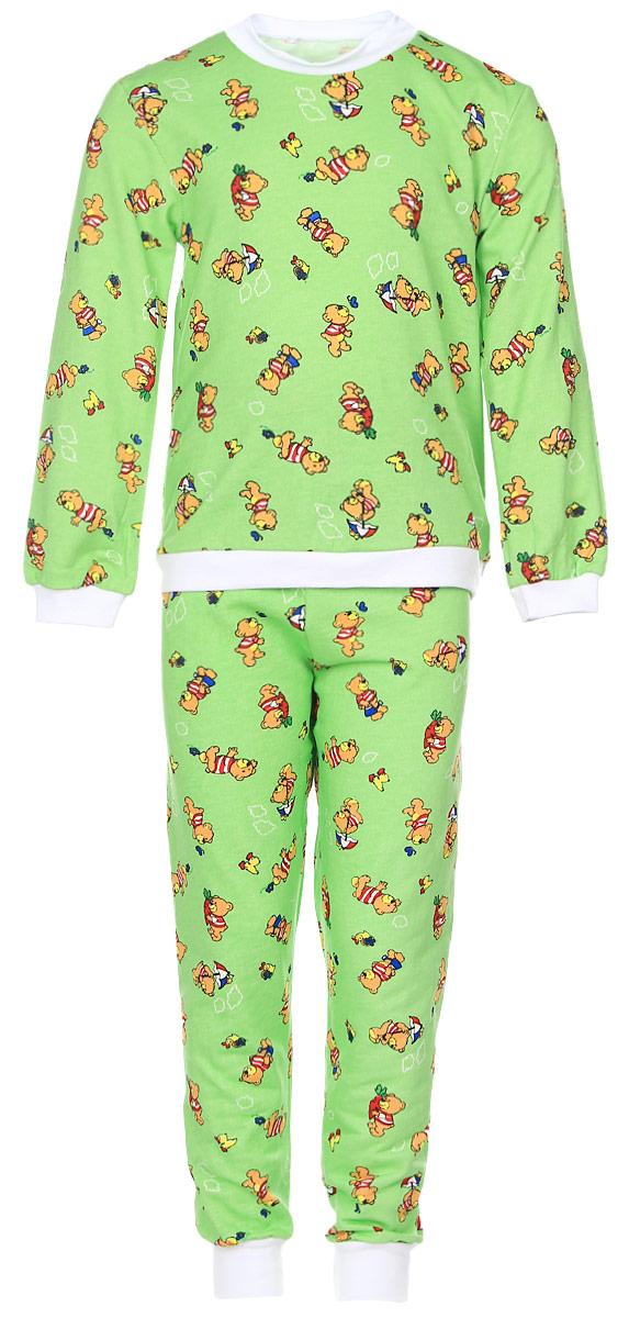 Пижама детская Фреш Стайл, цвет: зеленый. 21-5872. Размер 11621-5872Детская пижама Фреш Стайл выполнена из натурального хлопка. Изнаночная сторона изделия с мягким и теплым начесом. Футболка с длинными рукавами имеет круглый вырез горловины, оформленный трикотажной резинкой. На рукавах предусмотрены мягкие манжеты. Низ изделия дополнен широкой трикотажной резинкой.Брюки имеют эластичный пояс. Брючины дополнены манжетами.Пижама оформлена принтом.