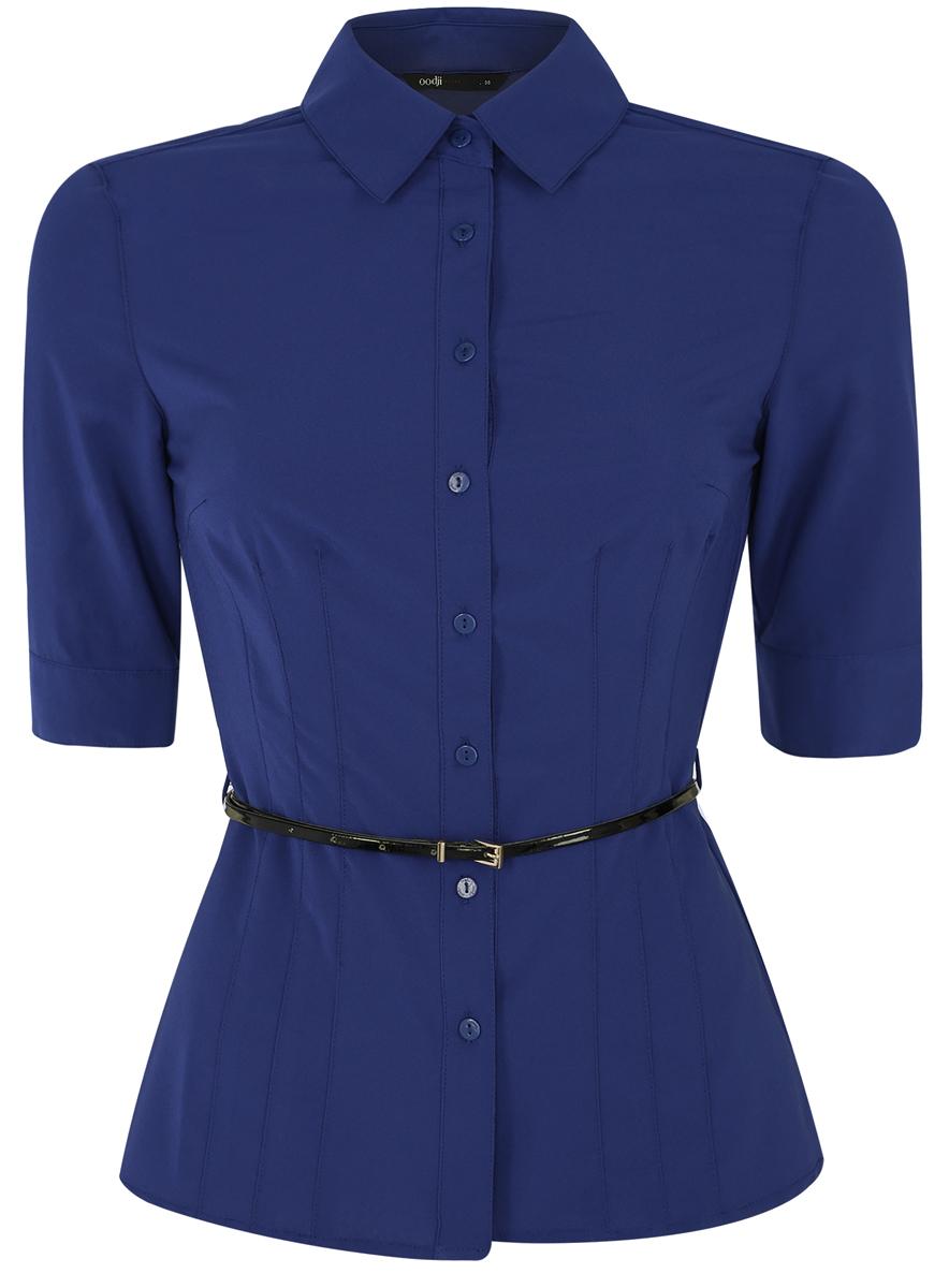 Блузка11410013-1B/19678/7500NСтильная женская блузка oodji Ultra выполнена из качественного полиэстера с добавлением эластана. Модель с отложным воротником и короткими рукавами 1/2 застегивается на пуговицы по всей длине. Манжеты рукавов также застегиваются на пуговицы. В поясе блузка дополнена шлевками для ремня и небольшим лакированным ремешком.