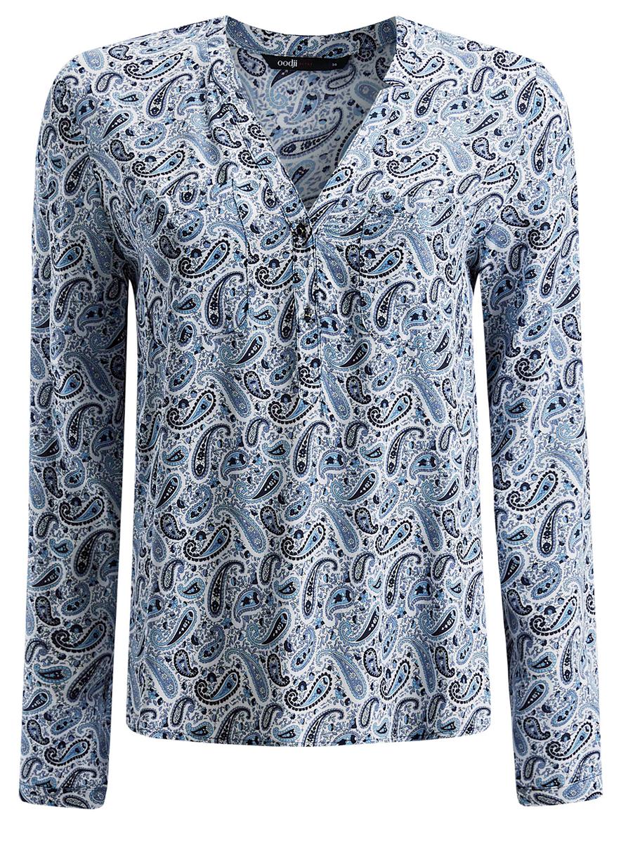 Блузка11411049/24681/1079EЖенская блуза oodji Ultra с длинными рукавами и V-образным вырезом горловины выполнена из натуральной вискозы. Блузка имеет свободный крой, манжеты рукавов застегиваются на пуговицы. На груди располагаются два накладных кармана. Модель украшена принтом с узором пейсли и дополнена декоративными пуговицами.