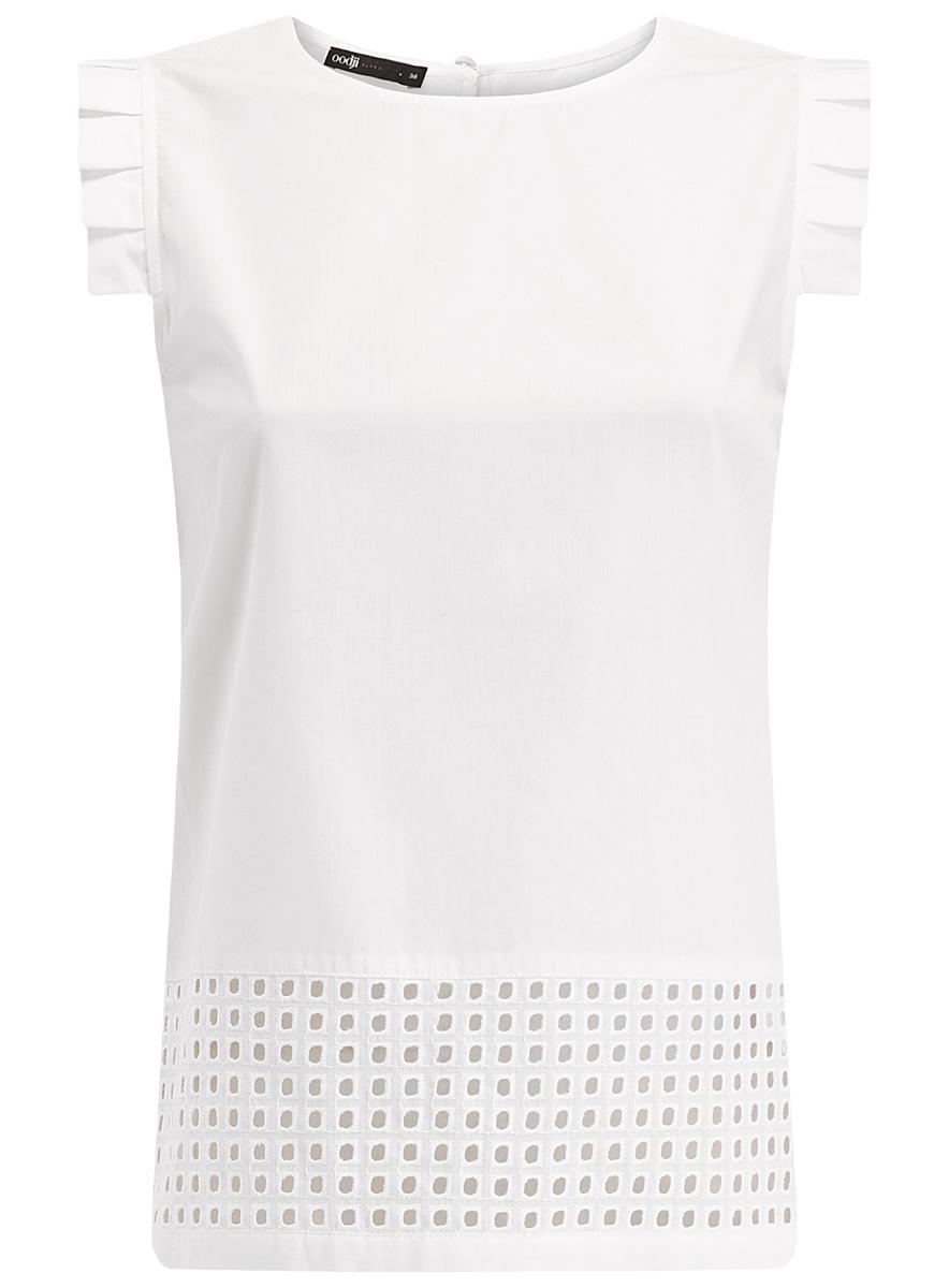 Блузка11411050/42640/1000NБлузка oodji Ultra выполнена из натурального хлопка. Модель с круглым вырезом горловины и короткими рукавами-крылышками застегивается сзади по спинке на пуговицу. Низ блузки дополнен вставкой из ткани с перфорацией.
